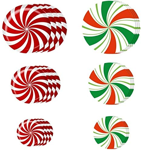 XIAOGINGV 24pcs di Natale Peppermint Piano Decalcomanie for Le Vacanze Decalcomania della Finestra Muro Si aggrappa Sticker for la Decorazione di Festa di Natale fornisce Style 1 (Color : Picture 1)