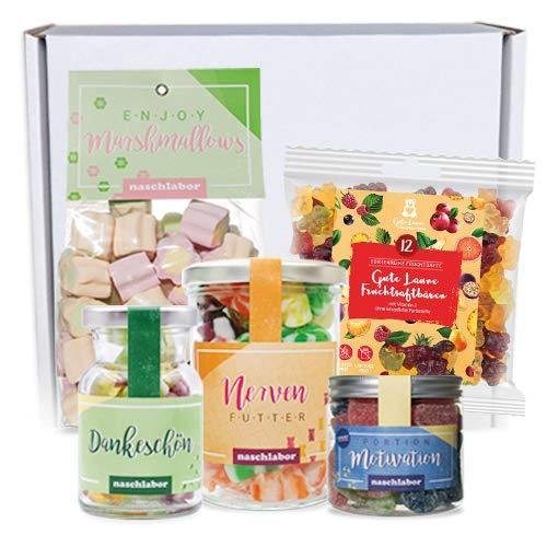 naschlabor   Home-Office Geschenkbox groß   Nervennahrung Geschenk für Büro oder Homeoffice   Fruchtgummi und Marshmallow Naschzeug