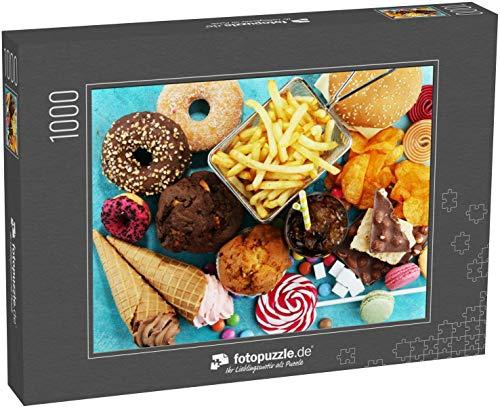 Puzzle 1000 Teile Ungesunde Produkte Schlechte Ernährung für Figur, Haut, Herz und Zähne - Klassische Puzzle, edle Motiv-Schachtel, Fotopuzzle-Kollektion 'Essen' (1000, 200 oder 2000 Teile)