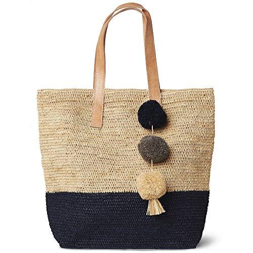 Mar Y Sol Montauk Crocheted Raffia Colorblock Tote Bag (Navy)