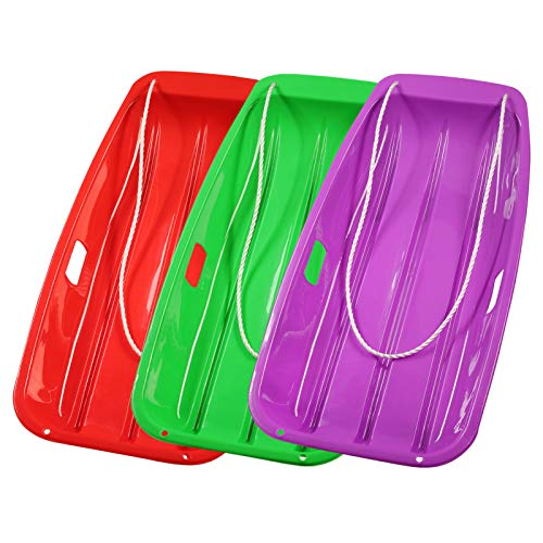 Bynccea Plastic Snow Sleds for Kids 35inch with Pull Ropes