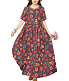 YESNO Women Long Maxi Bohemia Floral Dresses Short Sleeve Summer Swing Dress Casual Plus Size Laced Waistline w/Pockets ED2 (2XL, ED2 As Picture124)