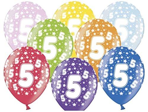 Metallic Luftballons 5. Geburtstag bunt gemischt 6 Stück