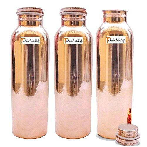 900ml/de carpintero–Juego de 3–Prisha India Craft cobre puro Botella de agua para beneficios para la salud–Botellas de Agua   conjunto libre, hecho a mano–regalo de Navidad