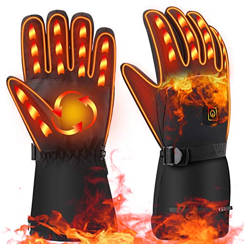 FoPcc Heated Gloves, Winter Gloves for Men Women 3 Heating Temperature Adjustable Electric Gloves Waterproof Thermal Gloves Hand Warmers for Outdoor...