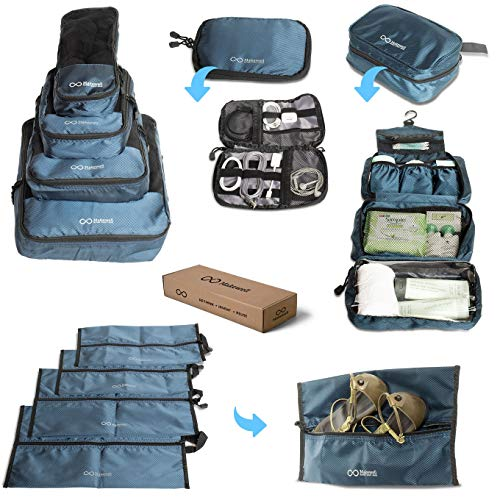 Travel Accessories Luggage Essentials Pack - Traveling Suitcase Organizer Bag Set For Men & Women - 4 Packing Cubes, 4 Waterproof Shoe / Laundry Bags, 1 Airplane Toiletries Holder, 1 Electronics Case
