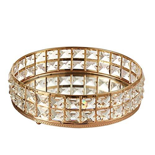 PHLPS Bandeja cosmética Ronda Cosmética Almacenamiento Golden Cristal Bling Tamaño Personalizado 11.5', contenedor de Caja de Almacenamiento para joyería, Maquillaje, Perfume (Color : Oro)