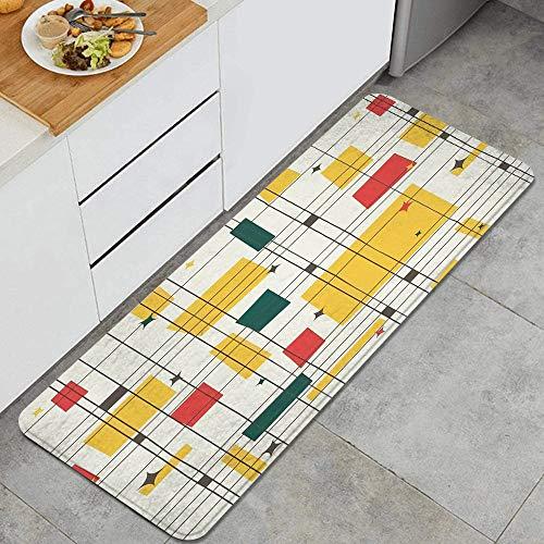 KGSPK Anti Fatigue Kitchen Rugs Mid-Century Modern (Gold) Comfort Non-Slip Doormat mat Area Rug for Floor Home,Office,Sink,Laundry