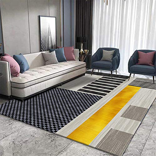 WQ-BBB Rug Dosen'T Shed Coffee Table Carpet Black gray gold blue striped geometry Non-slip carpet cosy rug super soft no allergies Carpets 80X200cm