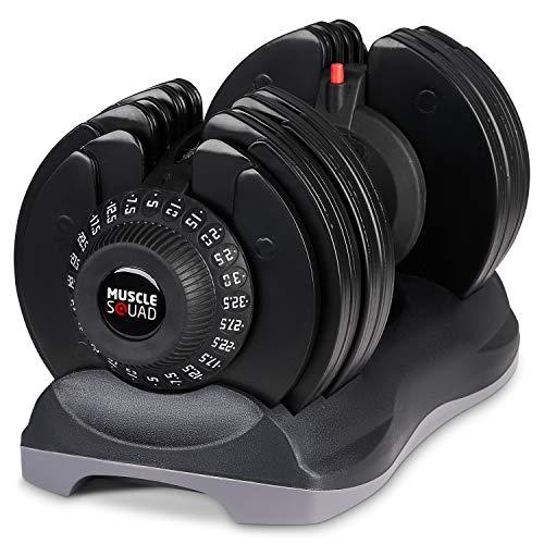 MuscleSquad 32.5kg Adjustable Dumbbell - 12 in 1 Dumbbell - 5kg to 32.5kg (Single Dumbbell)