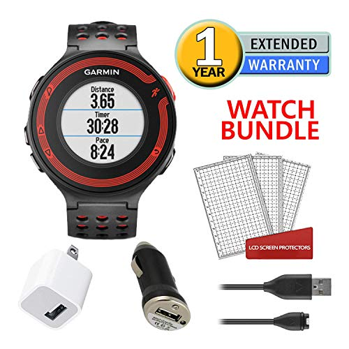 Garmin Forerunner 220 GPS Heart Rate Monitor (Black and Red) Running Watch Bundle with Charger + Screen Protectors + More