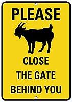素朴なポストは、ヤギシンボルアクティビティの背後にあるゲートを閉じてください 金属板ブリキ看板注意サイン情報サイン金属安全サイン警告サイン表示パネル