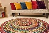 Second Nature Online Sundar Teppich, rund, geflochten, aus recycelten Materialien, handgewebt, Aus recyceltem Stoff., multi, 150 cm Diameter