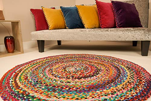 Second Nature Online Sundar großer runder geflochtener Stoffteppich, handgefertigt, Flachgewebe, mehrfarbig, 150 cm Durchmesser