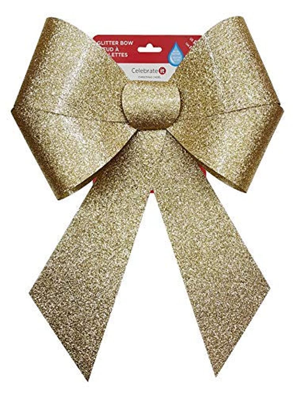 Set of 2 Decorative Red and Gold Glitter Gift Christmas Bows