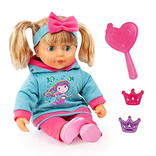 Bayer Design 93834AA Babypuppe, Funktionspuppe, Puppe mit blonden Haaren, My Little Sister 38cm, mit Sounds und Zubehör, Weichkörper, türkis, pink