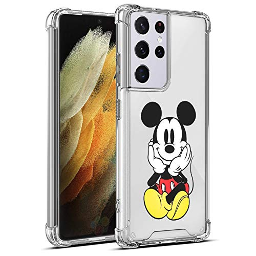 Compatible with Samsung Galaxy S21 Ultra 5G Case 6.8 Inch Cute Cartoon Mickey Character Big Mouse Soft TPU Bumper Thin Clear Four-Corner Airbag for Woman Girls Shockproof Cover