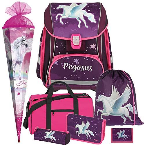 Pegasus - Einhorn Pferd - Spirit SMART Leicht-Schulranzen-Set mit BLINKENDEM LED-Schloss 7-teilig mit Sporttasche und SCHULTÜTE