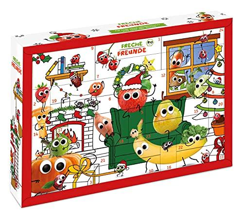 Freche Freunde Bio Adventskalender, Weihnachtskalender gefüllt mit Bio Kinder-Snacks und Spaß, ohne Industriezucker, ideal für Kinder