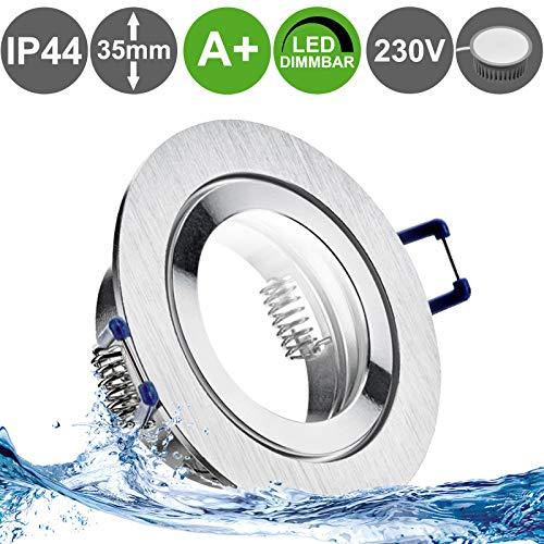 AQUA BASE IP65 3er Set 230V LED 5W dimmbar flach Decken Bad Einbaustrahler eckig Wei/ß Modul Warm-Wei/ß nur 50 mm Einbautiefe Bad Feuchtraum Einbauleuchte quadratisch 3000k
