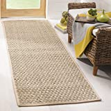 Safavieh Natural Fiber Collection NF114A Basketweave Natural and Beige Summer Seagrass Runner (2'6' x 6')