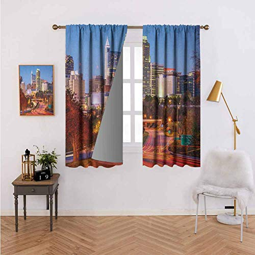 Blackout Curtains for Living Room-Warm Curtain Raleigh North Carolina USA Express Way Business District Building Skyscrapers,Room Darkening Noise Reducing W55 x L72 Set of 2 Panels