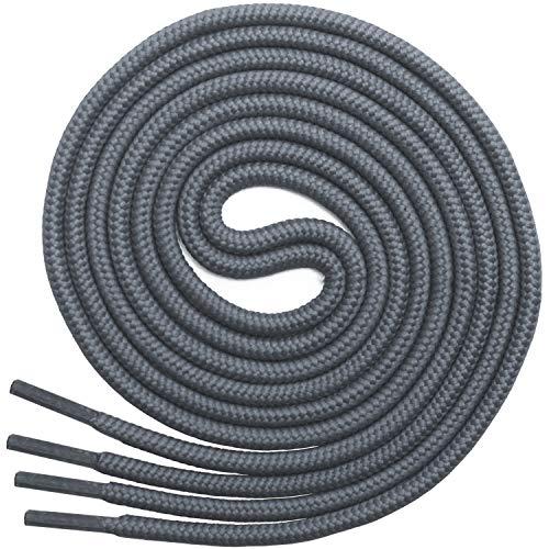 Miscly – Schnürsenkel Rund, Reißfest [3 Paar] für Sportschuhe, Sneaker und Stiefel – 100% Polyester - Ø 4 mm (160 cm, Grau)