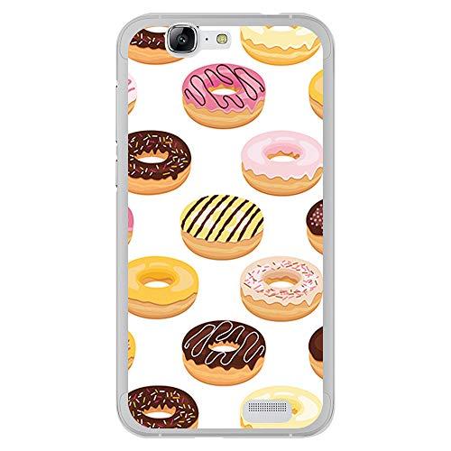 BJJ SHOP Transparent Hülle für [ Huawei Ascend G7 ], Klar Flexible Silikonhülle, Design: Aromatisiert und rasiert Doughnuts