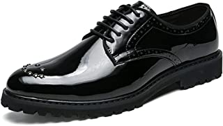 2019 Mens New Lace-up Flats Men's Business Casual Classic Oxford Comfortable Pointed Paillette Decoration Pattent Leather Shoes