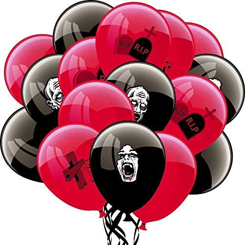XiaoOu Palloncini Halloween 16 Pezzi (Rosso, Nero) Spooky Halloween Decorazione Palloncini Palloncini in Lattice per Feste Dolcetto o Scherzetto Forniture per Feste Zombi