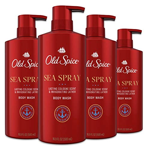 Old Spice Body Wash for Men, Aluminum Free, Sea Spray Cologne Scent, 16.9 Fl Ounce, Pack of 4
