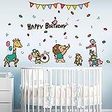Dibujos Animados Feliz Cumpleaños Concierto De Animales Pegatinas Habitación De Los Niños Porche Jardín De Infantes Decoración De Fondo Pegatinas De Pared Autoadhesivas