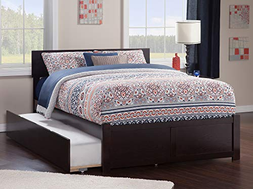 Atlantic Furniture Orlando Platform Bed with Flat Panel Footboard and Twin Size Urban Trundle, Full, Espresso