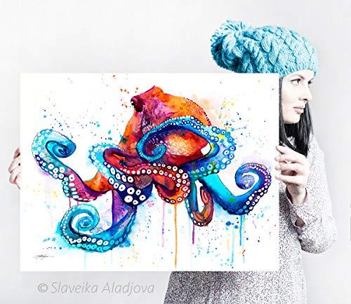 Octopus watercolor painting print by Slaveika Aladjova
