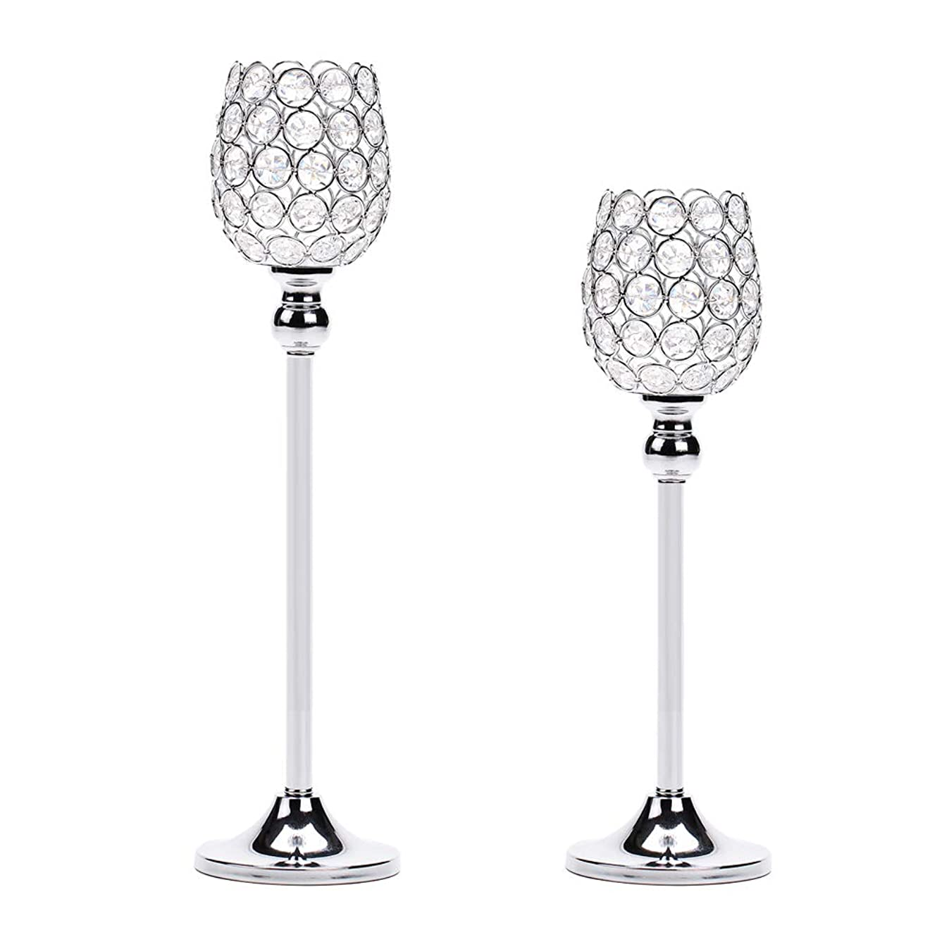 Manvi Silver Crystal Candle Holders Set of 2, Metal Pillar Tealight Candlestick Holders for Wedding Kitchen Dinning Table Centerpiece Decorative, Christmas Housewarming Gifts