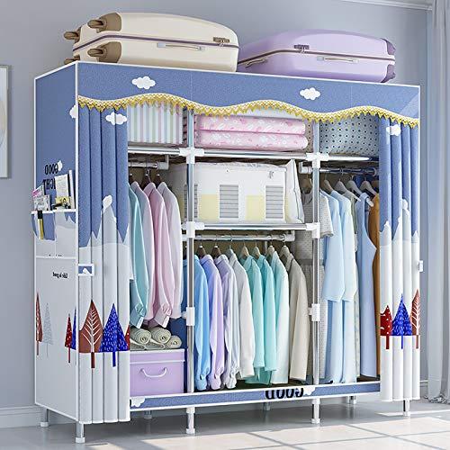 MINMIN Einfach Kleiderschrank aus Stoff Faltschrank Stoffschrank Furniture Bedroom Wardrobes,Light Blue