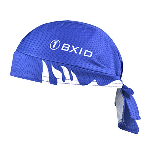 BXIO Pañuelo de Cabeza Hombre, Bufanda Sombrero Pirata de Respirable Protección UV para Ciclismo, Corriendo, Senderismo, Camping, Fitness y Escalada, Azul