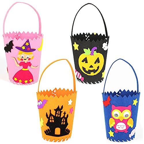 Halloween Crafts Kit, 4PCS DIY Set Including Pumpkin Bat Witch Castle for Kids Halloween Party Favor Classroom Daycare Homeschool Art Decoration