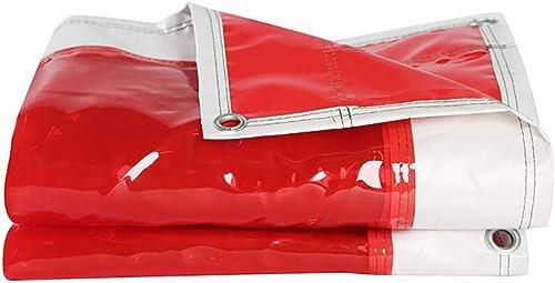Bache Toile en Plastique épaissie PVC Rouge Imperméable, Multi-usages, Transparente, 500g   M2 (Taille   4x4m)