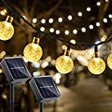 KNONEW 2 Pack Garden Solar Lights, 30 LED 21.3ft(Include 6.5ft Extension Cord) 8 Modes Waterproof Outdoor Patio Globe Ball String Lights for Patio Yard Garden Party Christmas Decoration (Warm White)