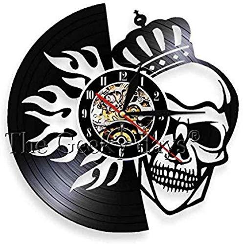 Reloj de Pared de Vinilo Skull King Reloj de Pared con Disco de Vinilo Retro Regalo de Arte navideño Hecho a Mano Diseño de Esqueleto de Sonrisa de Halloween