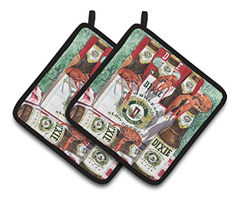 Caroline's Treasures 8541PTHD Dixie Beer and Crawfish New Orleans Pair of Pot Holders, 7.5HX7.5W, Multicolor