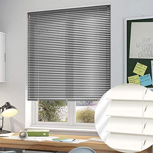 ALU Jalousie Rollade in Silber oder Weiß Rollo Vorhang Sichtschutz Plissee Schalusie ohne Bohren (Weiß, 60 x 140cm (BxH))