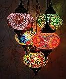 Lampada da soffitto a sospensione a mosaico multicolore turco/marocchino con 5 pezzi