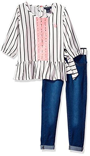 U.S. Polo Assn. Conjunto de Playera y pantalón para niña, Cinturón de satén con Volantes de Rayas, Multicolor, de satén, 2 Años