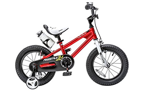Royalbaby RB14B-6R BMX Freestyle Kids Bike, Boy's Bikes and Girl's Bikes with training wheels, Gifts for children, 14 inch wheels, Red