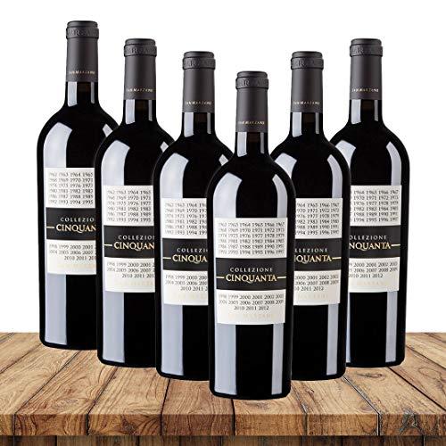 San Marzano Collezione Cinquanta 2012| Weinpaket Rotwein (6 x 0,75 Liter) | Rotweine aus Italien | Vegan