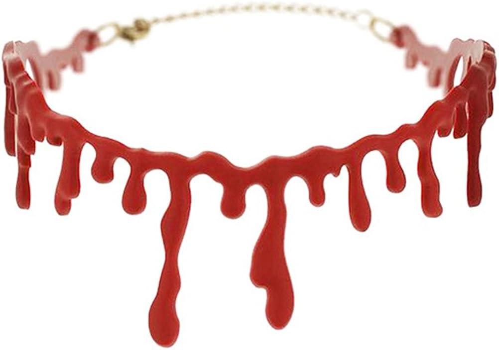 CoscosX Halloween Party Dress Ball Punk Rock Deathrock Blood Red Stitch Choker Necklace Horror Drip Slit Throat Necklace Bleeding Red