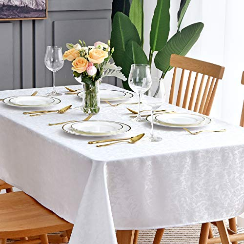 maxmill Jacquard Table Cloth Damask Pattern Spillproof Wrinkle Resistant Oil Proof Heavy Weight Soft Tablecloth for Kitchen Dinning Tabletop Outdoor Picnic Rectangle 52 x 70 Inch White