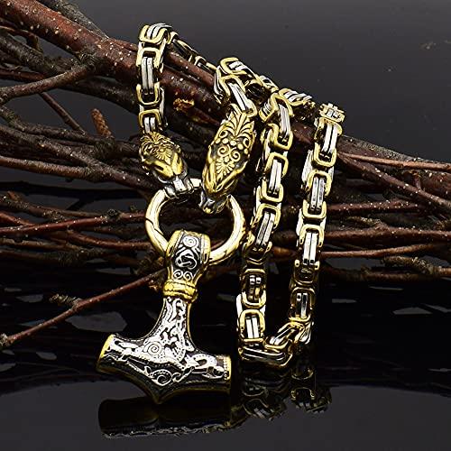 Collares Cabeza Lobo Vikingo Para Hombre Colgante Mjolnir, Acero Inoxidable Nórdico Odin Thor's Rune Vintage Vegvisir Brújula Amuleto Accesorios Joyería, Con Bolsa Regalo Valknut,Two colors,50cm